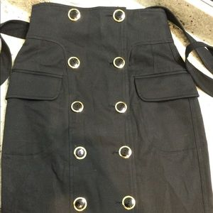High waisted double row gold buttons black skirt